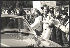 Drive-By in Oregon 1985 Milarepa center/right, holding drum sticks